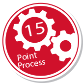Two gears with text saying 15 point process