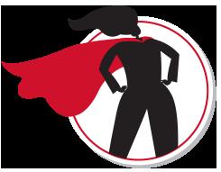 Cartoon figure of a superhero