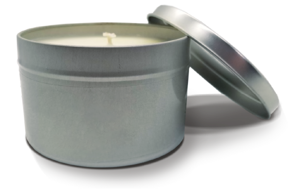 Candle in metal container