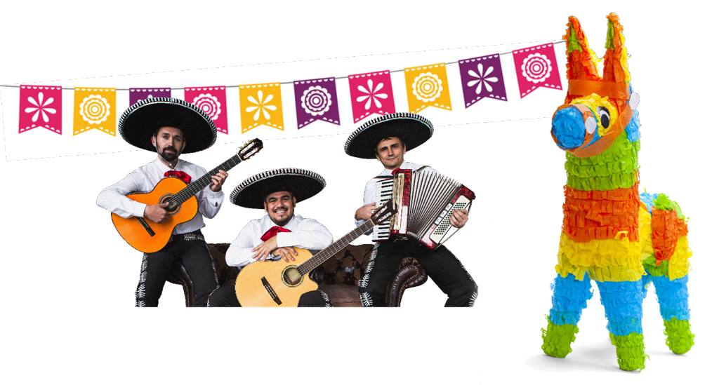 Mariachi band with pinata