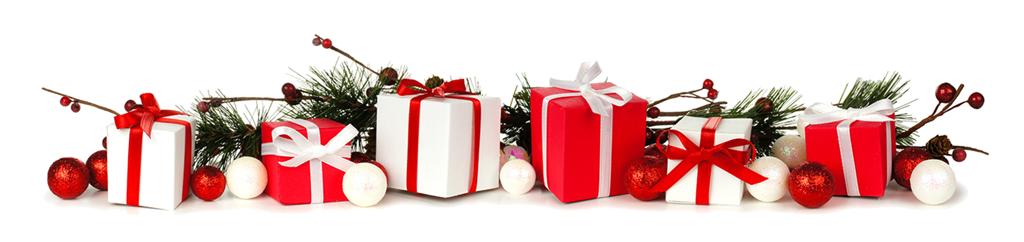 Line of christmas presents
